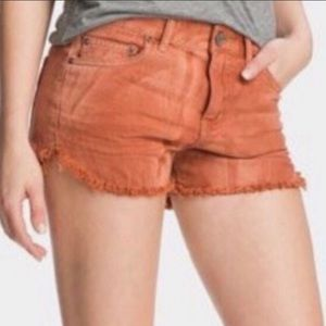 Free People Orange Dyed Cut-Off Jean Shorts